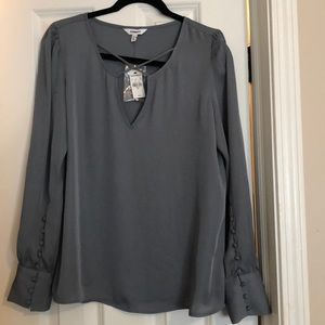 Express cross front large button cuff blouse M